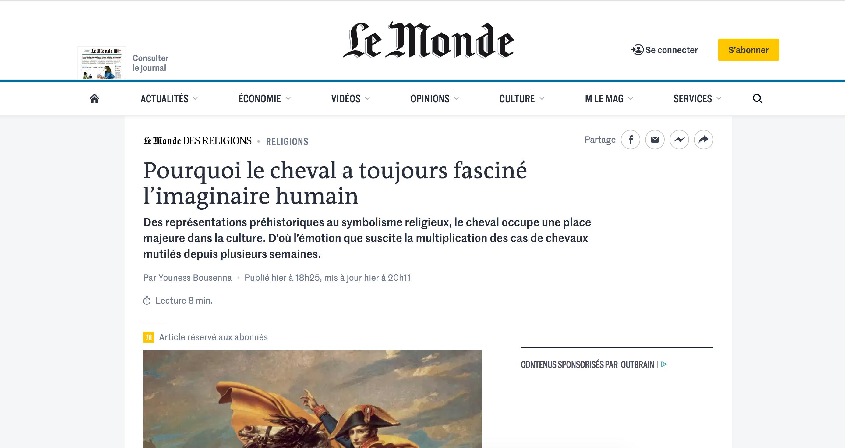 Article – Le Monde des religions, septembre 2020