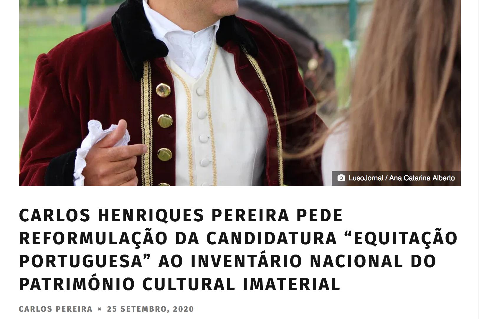 Carlos Pereira demande une reformulation de la candidature de l'équitation portugaise au patrimoine immatériel.